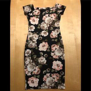 Black Floral Wiggle Pencil Short Sleeve Midi Dress